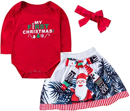 Baby Girl Christmas Outfits Set Bodysuit Skirt Dress Newborn Romper Xmas Clothes
