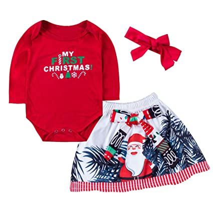 f588caa4952a3 Amazon.com: Voberry 3Pcs My First Christmas Outfits Toddler Baby ...
