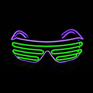 PINFOX Shutter EL Wire Neon Rave Glasses Flashing LED Sunglasses Light Up Costumes for 80s, EDM, Party RB03 (Purple + Light Green)