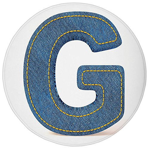 - Round Rug Mat Carpet,Letter G,Modern Denim Font Typeset Character Jeans Cloth with Stitches Uppercase Print Decorative,Blue Yellow,Flannel Microfiber Non-slip Soft Absorbent,for Kitchen Floor Bathroom