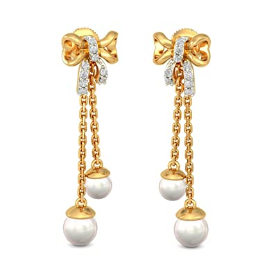 d73f82973 Buy BlueStone 14K Yellow Gold, Diamond and Pearl Wauna Drop Earrings Online  at Low Prices in India | Amazon Jewellery Store - Amazon.in