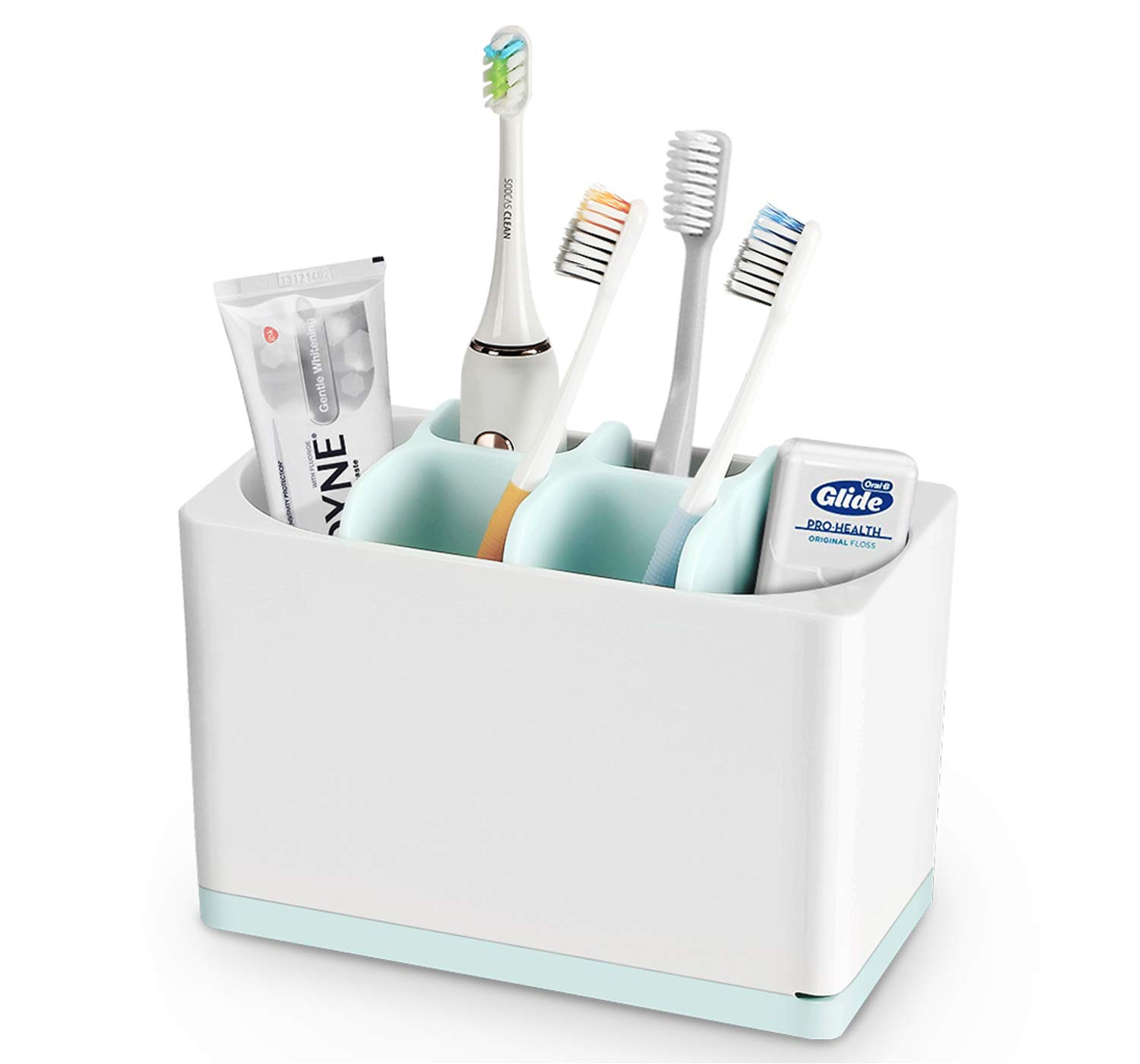 Luvan Toothbrush Holder Made of Food-Grade PP and ABS Plastic,BPA-Free&FDA Approved,Versatile Storage,Detachable for Easy Cleaning,Ideal for Regular/Electric Toothbrushes, Toothpaste Tubes etc by Luvan