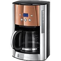 Russel Hobbs Machine à Café, Cafetière Luna 1.8L Inox, 12 Tasses, Programmable, Auto-Nettoyante - Cuivre 24320-56