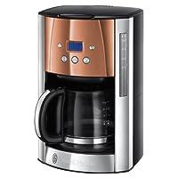 Russell Hobbs Digitale Glas-Kaffeemaschine Luna Copper Accents, Brausekopf-Technologie, programmierbarer Timer