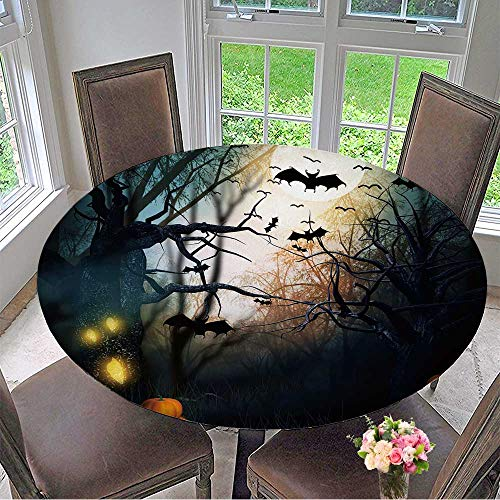 Mikihome Picnic Circle Table Cloths Scary Halloween Backdrop