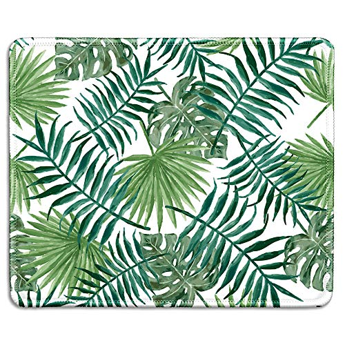 dealzEpic - Art Mousepad - Natural Rubber Mouse Pad Printed with Watercolor Style Tropical Leaves Pattern - Stitched Edges - 9.5x7.9 inches