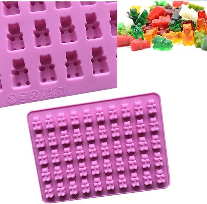 Sue Supply Moldes de silicona para cubitos de hielo hechos a mano 50 cavidades dise/ño de oso de caramelo