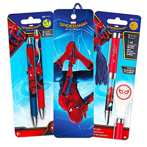 Inkworks Marvel Spiderman Pen Set - Superhero Projector Pen, 2 Premium Pens and Spiderman Bookmark (Spider-man Office Supplies)