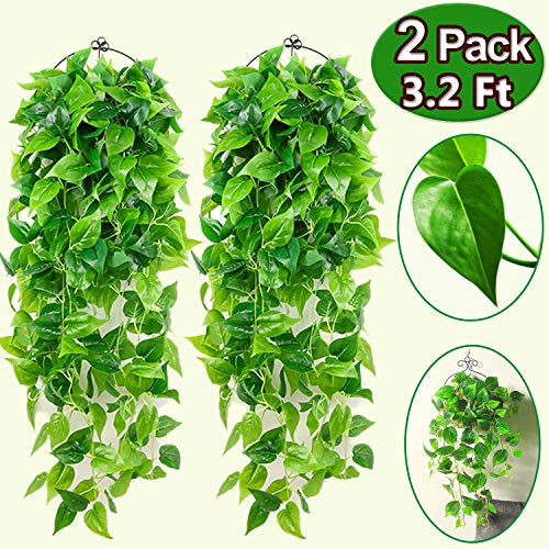 Artificial Hanging Plants - 2 Pcs Garland Greenery Artificial Plants 3.2 Ft Artificial Tropical Plants Ivy Vine Fake Leaves Greeny Chain for Wall Home Room Garden Wedding Garland Outside Decoration
