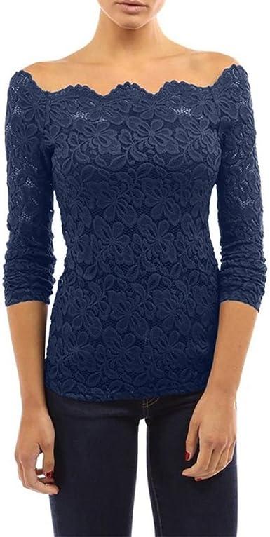 Koly Blusa con Escote Boat Neck Off Shoulder Manga Larga con Elementos Floral Encaje y Blondas para Mujer Sólido Camisetas y Tops Blusas y Camisas Twin Set Sudaderas Suéteres Shirts (Azul, L):