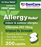 GenCare  Cetirizine HCL 10 mg (200 Count)   24 Hour Non Drowsy Allergy Relief Pills   Best Value Generic OTC Allergy Medication   Antihistamine for Sneezing, Runny Nose and Itchy Eyes   Generic Zyrtec
