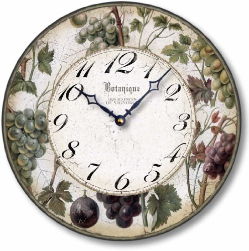 - Fairy Freckles Studios Item C8203 Antique Style 12 Inch Wine Grapes Clock