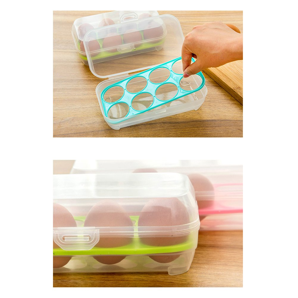 JAMOR 8 Grid Egg Box Kitchen Egg Storage Box Refrigerator Egg Crisper Box Picnic Camping Necessary (Green) by JAMOR (Image #5)
