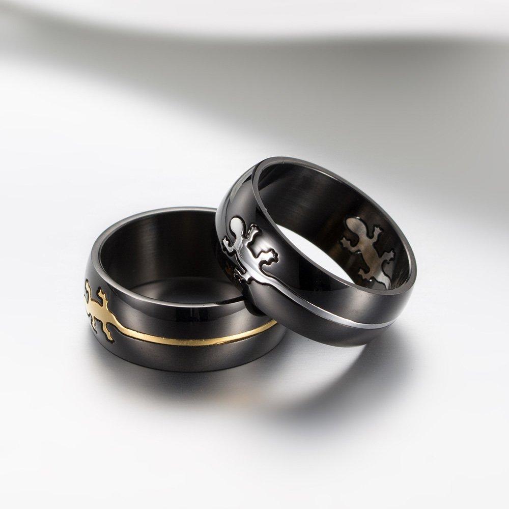 8.9mm Dome Gecko Inlay Titanium Steel Jewelry Ring Finger Ring Jewelry Ring Fashion Jewelry