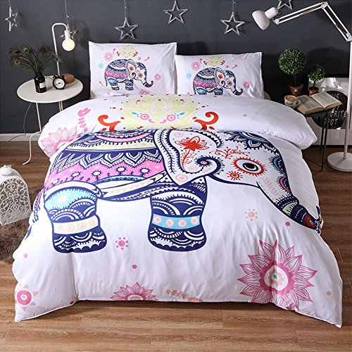 JOXJOZ 3 Piece Bohemian Elephant Mandala Pattern Bedding Printed Boho Duvet Cover Set with 2 Pillow Shams (Queen (90