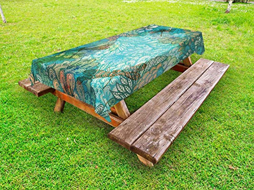 Ambesonne Dragonfly Outdoor Tablecloth, Fantasy Flowers Mixed in Various Tones Shabby Chic Feminine Beauty Print, Decorative Washable Picnic Table Cloth, 58 X 84 Inches, Turquoise - Outdoor Shabby Table