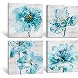 SUMGAR Blue Wall Art Bedroom Farmhouse Teal Flowers Canvas Prints Aqua Floral Artwork Plants Nature Scenery Paintings…