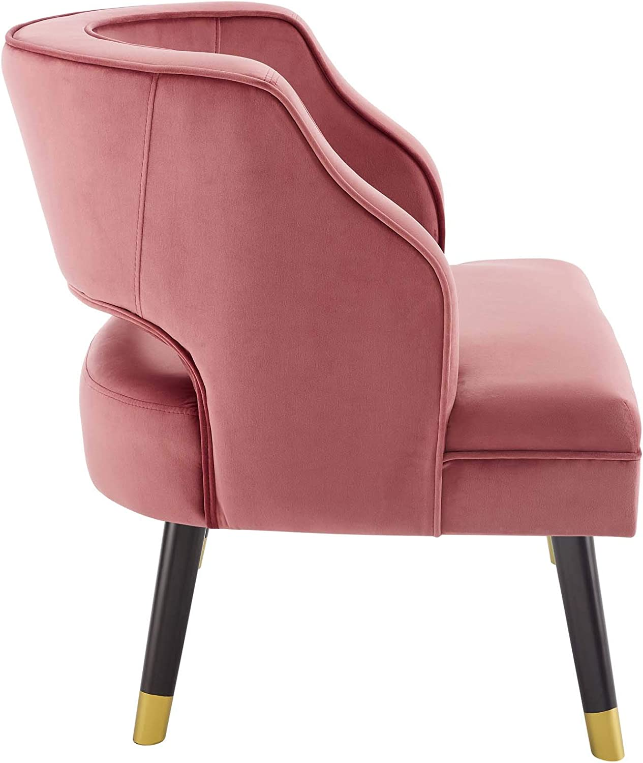 Modway Traipse Button Tufted Open Back Performance Velvet Armchair, Dusty Rose