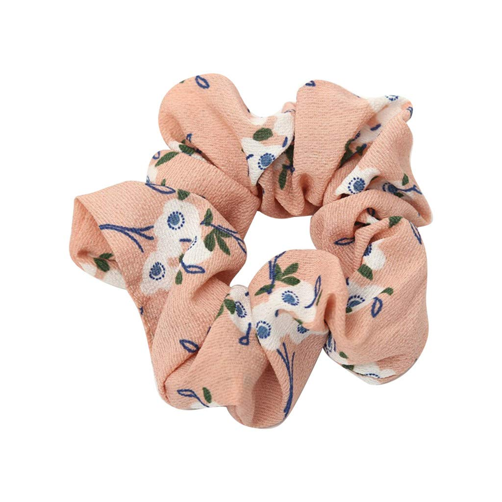 Headband, Dingji Women Elastic Hair Rope Ring Tie Scrunchie Ponytail Holder Hair Band Headband (Pink)