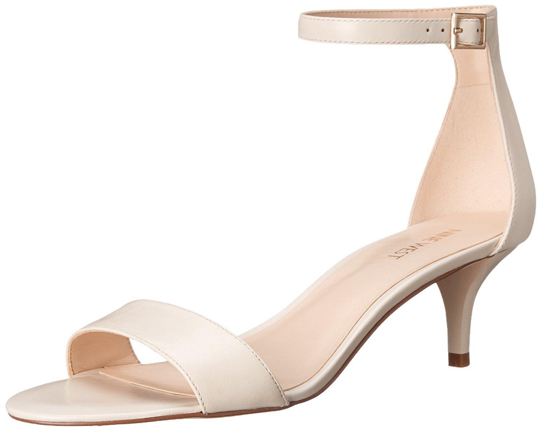 Nine West Women's Leisa Leather Heeled Dress Sandal, Off White, 9 M US
