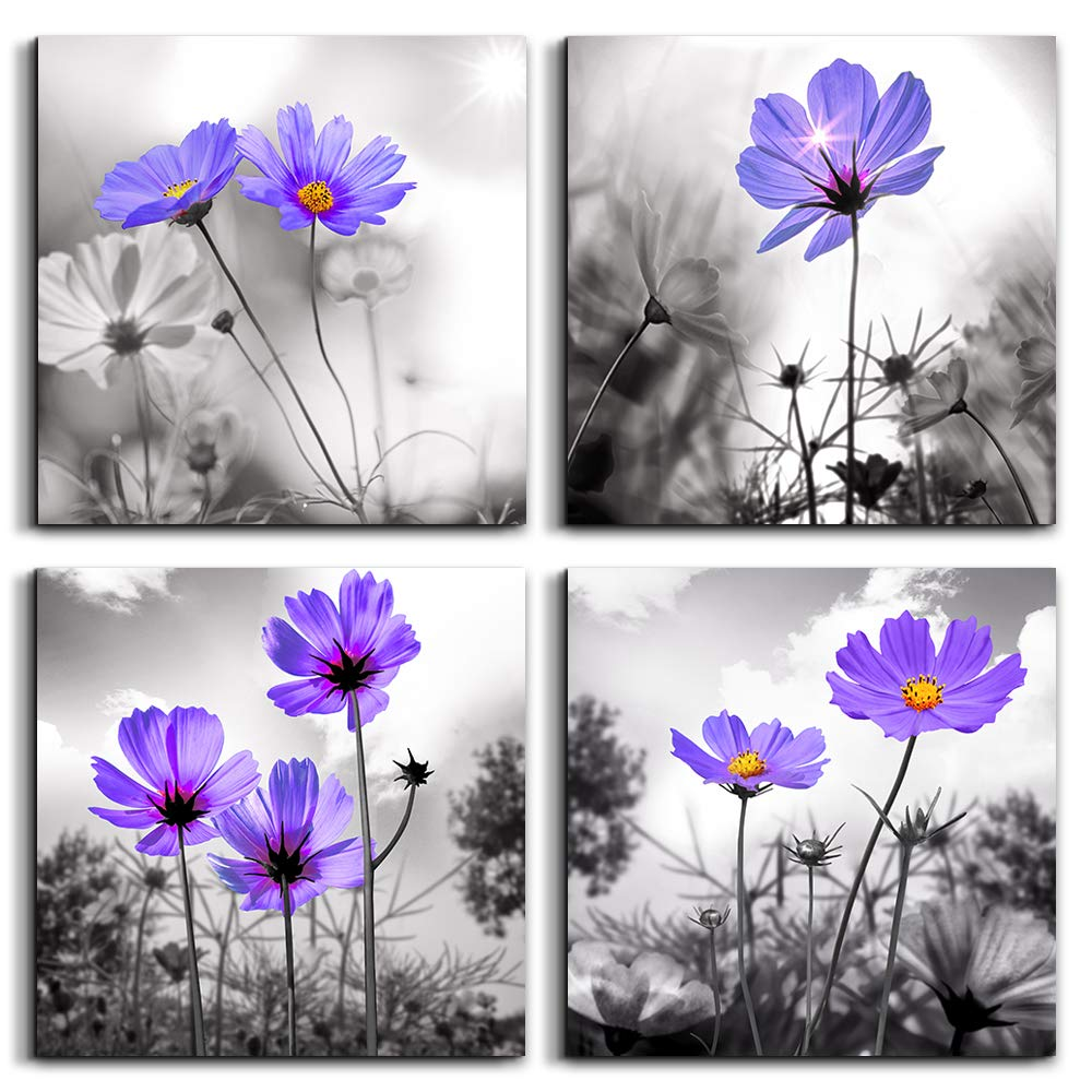 Canvas wall art for bedroom black and white landscape purple flowers bathroom wall decor for kitchen artwork 12 x 12 4 pieces framed canvas prints ready