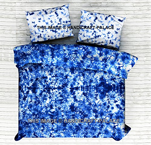 HANDICRAFT-PALACE Indian Tie Dye Bed Sheet Hand Dyed Shibori Bedding Set King Cotton Bed Cover, 100% Cotton Handmade Bedding Set with Pillow Cases Hippie Bedspread