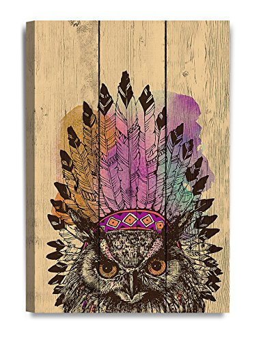 Eagle Head Wall Decor - DECORARTS - Canvas Prints Wall Art -Eagle owl in an Indian Headdress Leader on Vintage Wooden Background .Giclee Print on Canvas for Wall Decor. 24x16x1.5