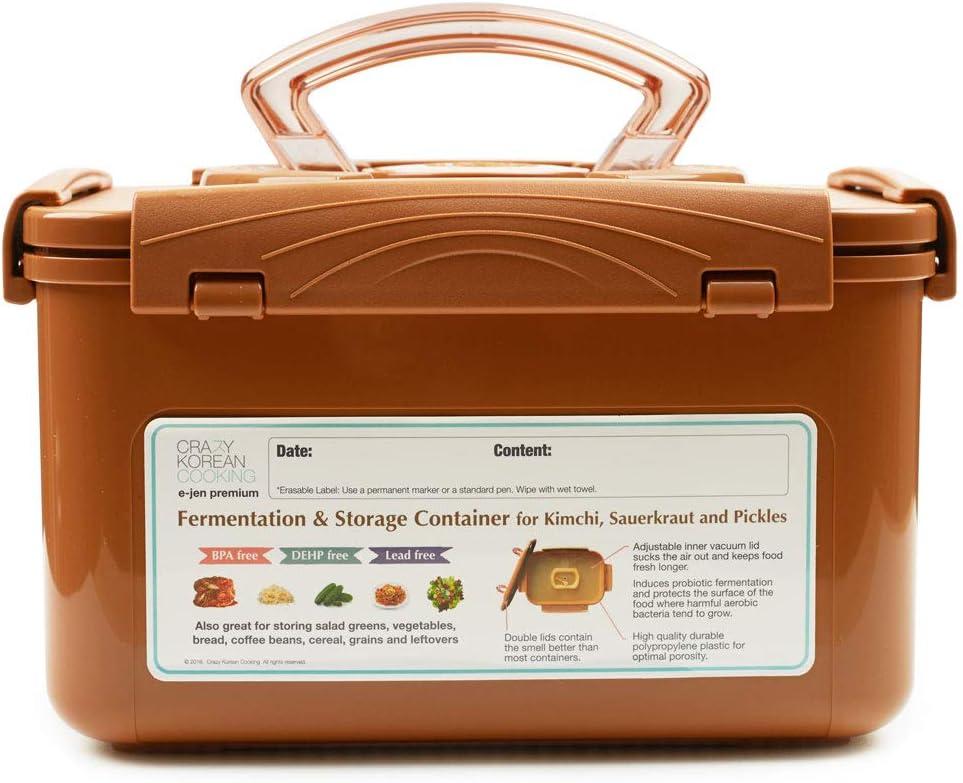 Crazy Korean Cooking Premium Kimchi, Sauerkraut Fermentation and Storage Container with Inner Vacuum Lid, Sandy Brown, 1.3 gallon (5.2 L)