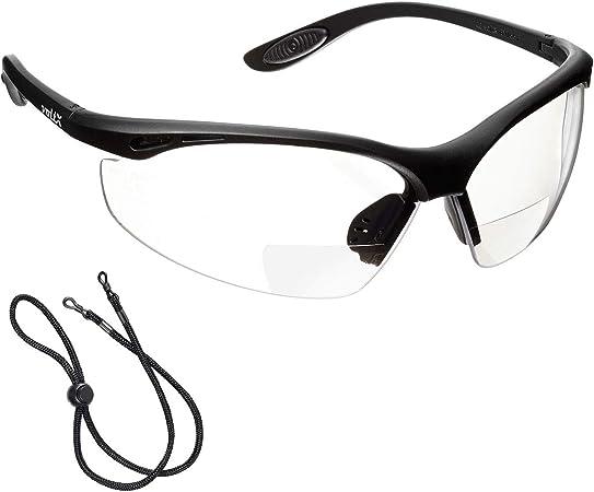 BIFOCALES avec Cordon dot/é dun arr/êtoir//Lunettes de Cyclisme voltX Constructor Lunettes de s/écurit/é de Lecture Reading Safety Glasses Certifi/ées CE EN166F FUM/É dioptrie +1.5