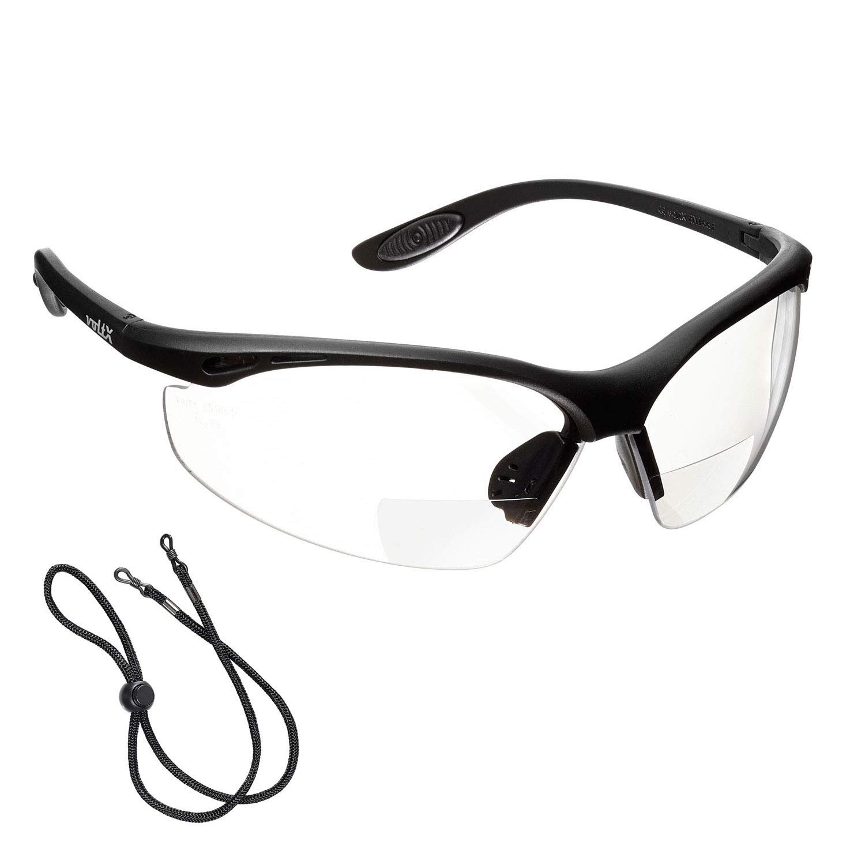 voltX 'CONSTRUCTOR' (TRANSPARENTE dioptría +2.0) Gafas de Seguridad de Lectura BIFOCALES que cumplen con la certificación CE EN166F / Gafas para Ciclismo incluye cuerda de seguridad - Reading Safety G