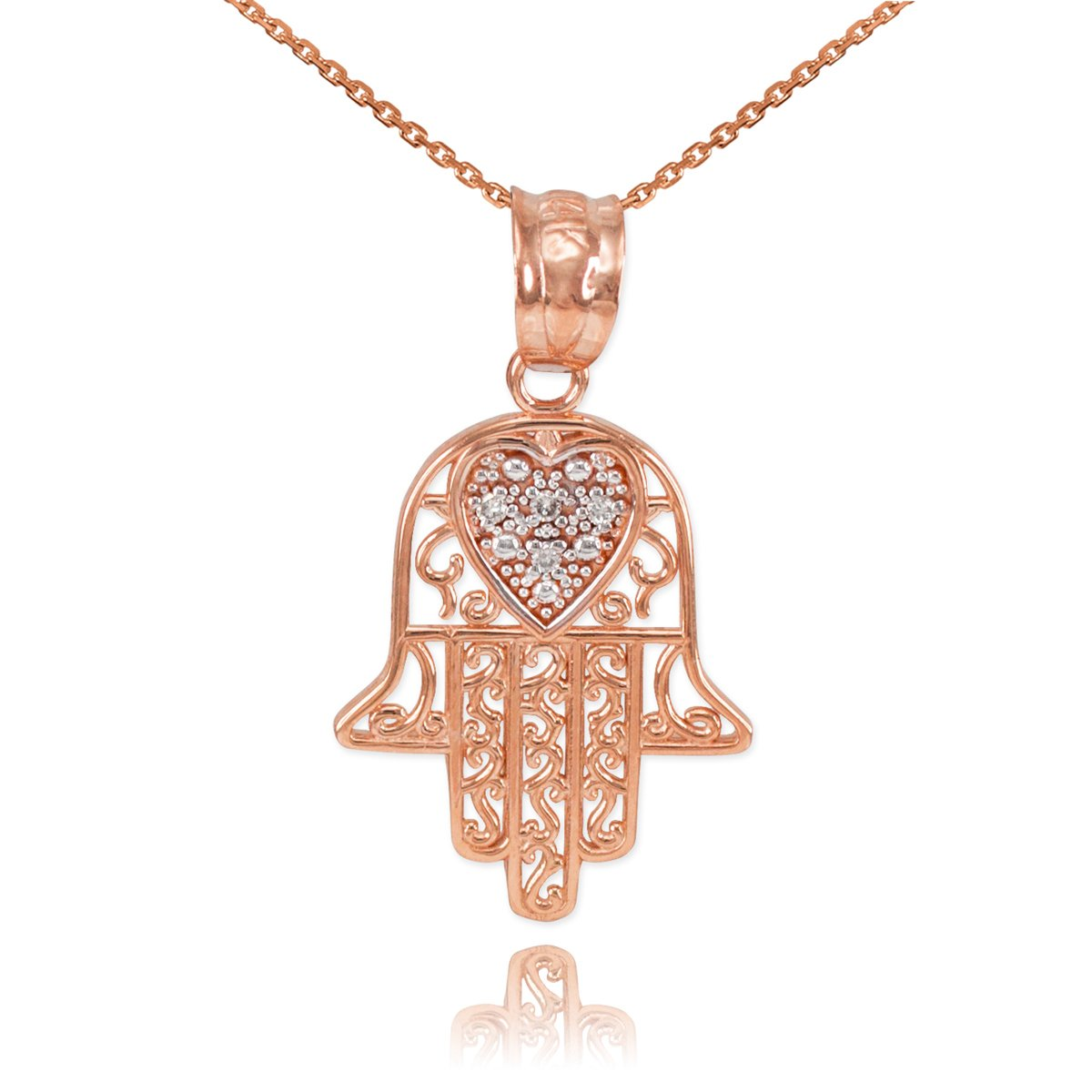 Fine 14k Rose Gold Diamond-Accented Heart Filigree-Style Hamsa Pendant Necklace, 16'' by Middle Eastern Jewelry