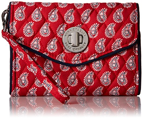 Vera Bradley Your Turn Smartphone Wristlet 2 Wallet, Petite Red Bandana Paisley, One