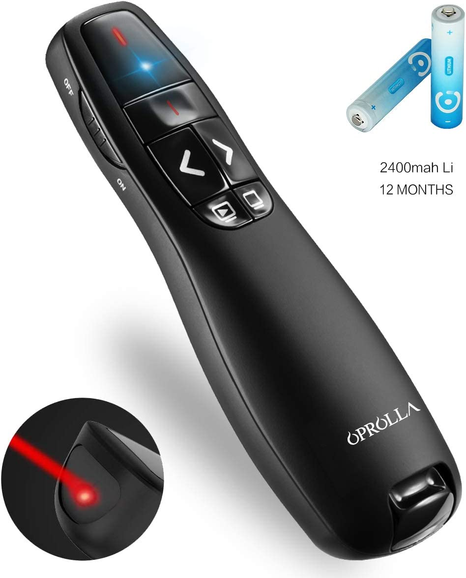 Wireless Presenter with Laser Pointer,2.4GHZ PPT Clicker, Support Super URL, Powerpoint Presentation Remotes R400-OPROLLA,USB Control for Teaching. Updated Version