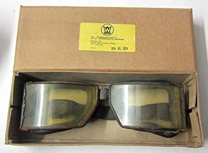 b3375c1141 WW2 German Panzer Motorcycle Goggles & Vintage Aviator Driving Aged  Wehrmacht