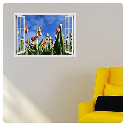 Amazon.com: Alonline Art Tulips Field Fake 3D Window POSTER PRINTS ...