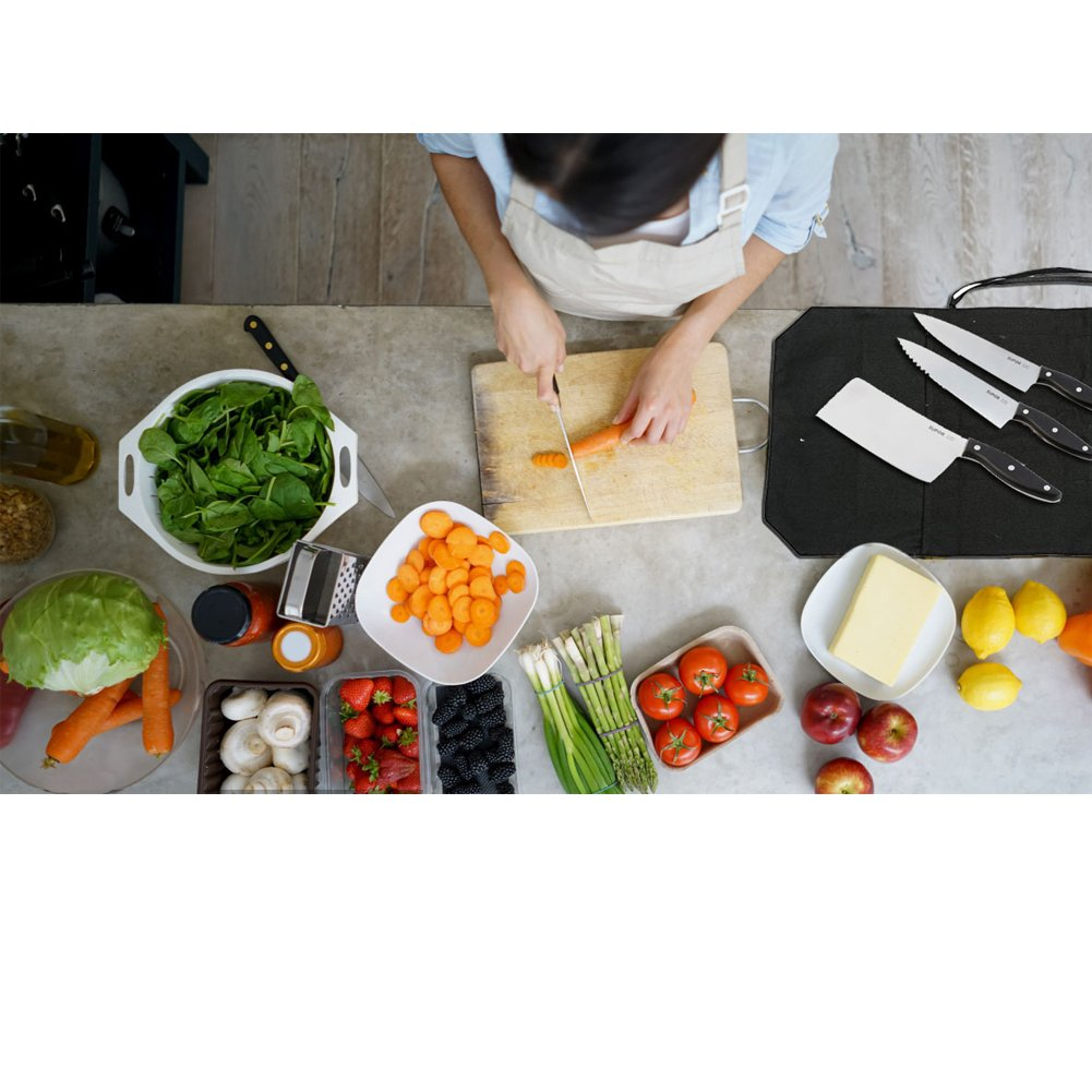 A Chef's Knife Roll Bag - Portable Travel Chef Knife Case Carrier Storage Bag with 4 Slots Best Gift For Pro Chef or Culinary Enthusiasts Men Women HGJ03-P Black by Hersent (Image #5)