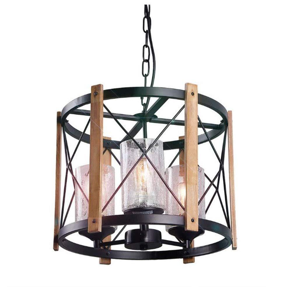 ヴィンテージインダストリアルスタイル素朴なアンティーク錬鉄木材シャンデリアクリエイティブレストランランプ寝室研究ランプ3ライト60ワット、110ボルト-240ボルト   B07SLRY6W7