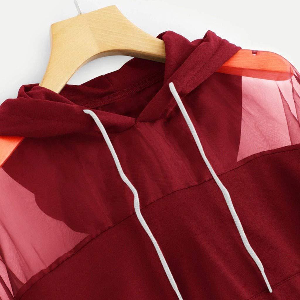 Women Mesh Hooded Sweatshirt Long Sleeve Pocket Drawstring O Neck Patchwork Pullover Blouse Tops Daorokanduhp