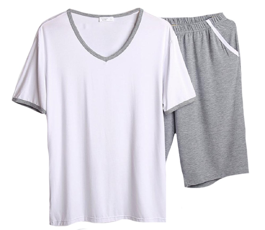 XiaoShop Men Oversized Fine Cotton Casual Loose Pajama Sleepwear Set White S
