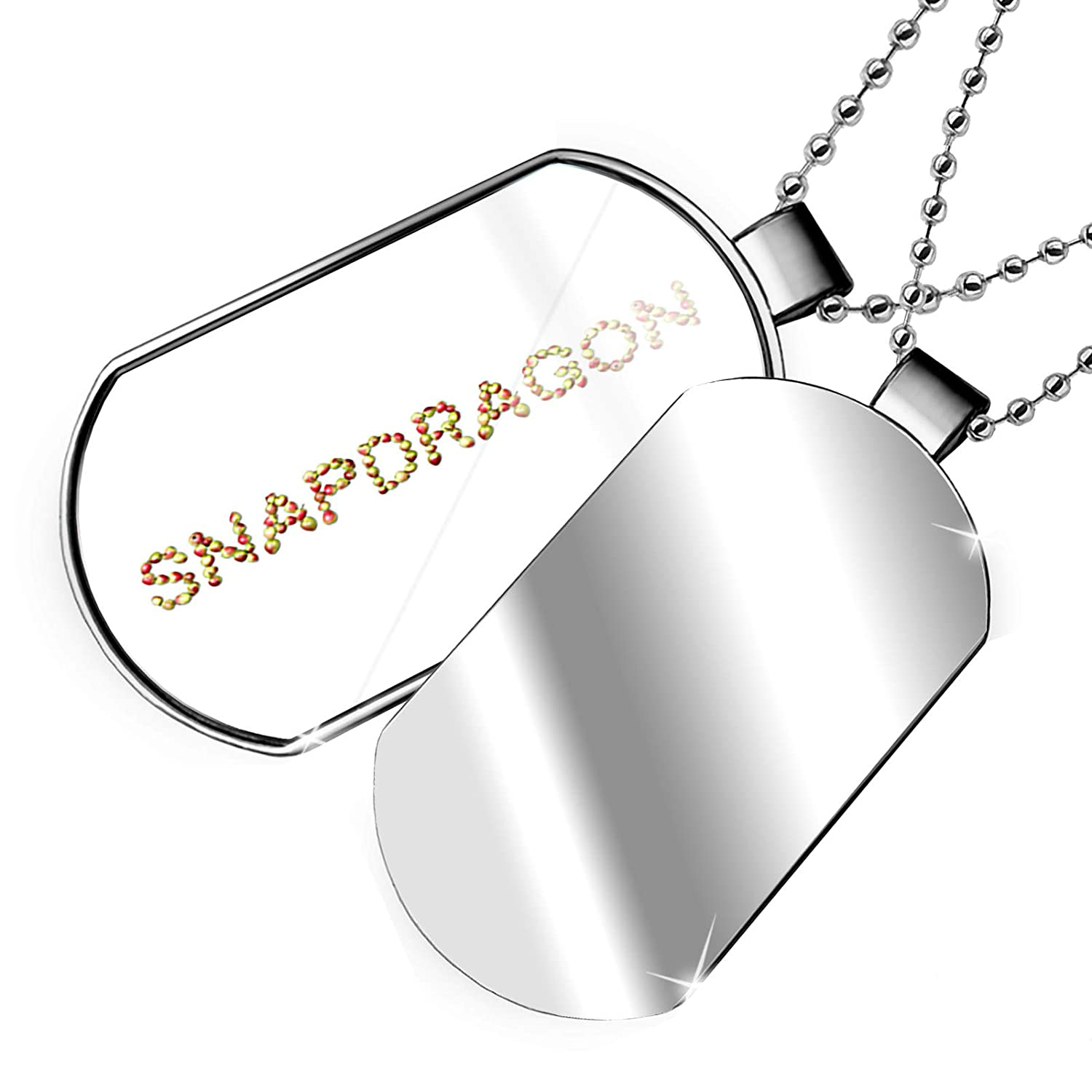 NEONBLOND Personalized Name Engraved Snapdragon Apples Dogtag Necklace