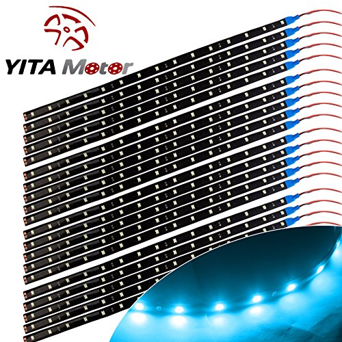YITAMOTOR 20X Car Lighting Flexible Strip 15SMD Blue LED 30cm Decorative LED Light Waterproof