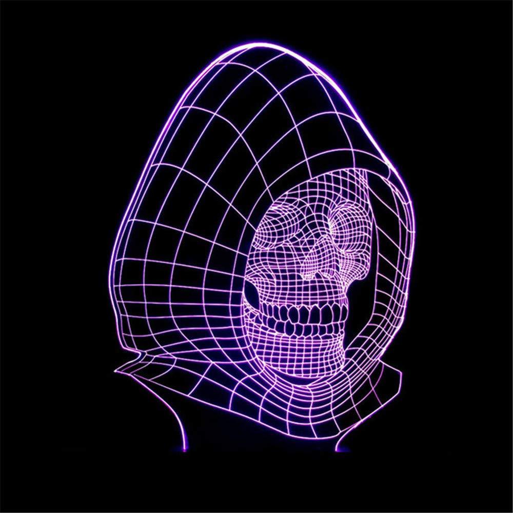 7 luces luces luces visuales nocturnas de color 3D LED cráneo lámpara para niños Lamparas USB Touch lámpara de mesa Baby Sleep iluminación regalo de noche decoración para el hogar 720f25
