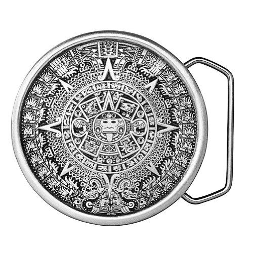 Pewter Belt Buckle Aztec Calendar - Aztec Calendar Belt Buckle 08-I98 IMC-Retail