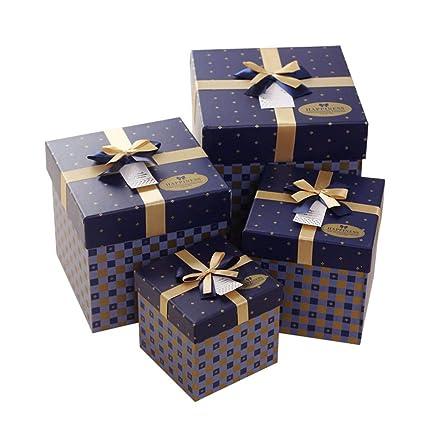 HAPPY TREE Caja de Regalo de Dulces navideños 4 Piezas Azul, Grande y pequeño,