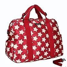 LANDUO LAN Women's Baby Diaper Nappy Bag Travel Large Polyester Waterproof Red
