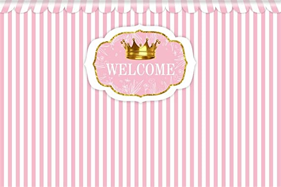 Amazon Com Lfeey 9x6ft Baby Shower Photo Backdrop For Girl Kids Children Birthday Party Class Reunion Decoration Wallpaper Pink And White Striped Photography Background Photo Studio Props Camera Photo