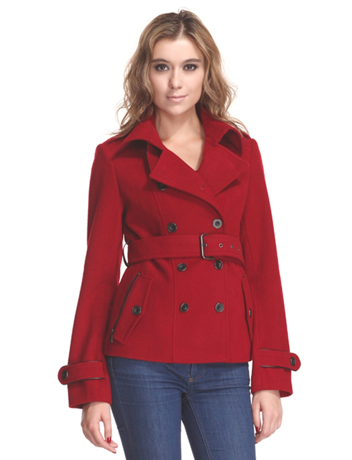 Zareen Women's Short Wool Blend Coat With Trench Style (Large, Red)