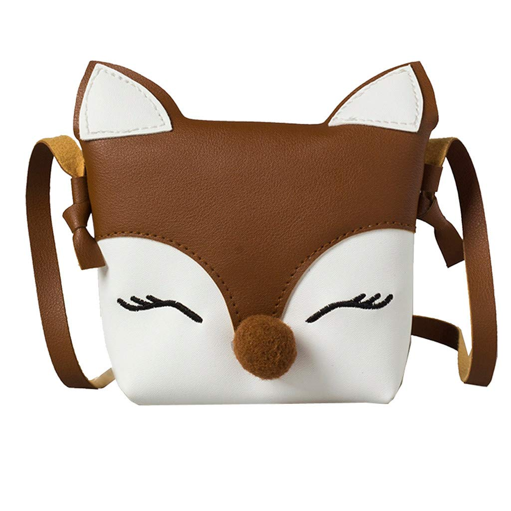 Children's Change Bag - Baby Girls Boys Cute Cartoon Single Shoulder Pack,Animal Fox Handbags Mini Crossbody Bag Packet Coffee