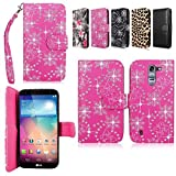 Cellularvilla Wallet Case for LG Optimus G Pro 2 LG-F350 Pu Leather Wallet Card Flip Open Pocket Case Cover Pouch (Pink Glitter)