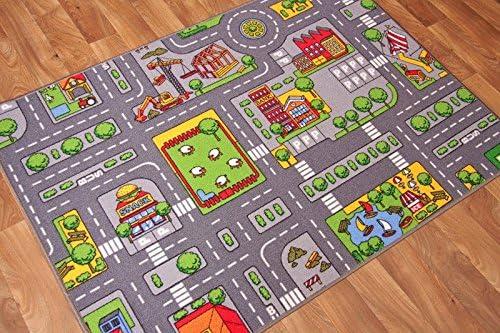 Racing Track Childrens Rug Kids Play Mat Big City 95 x 200 cm Village City Playroom Roads Rug Kids Nursery Carpet